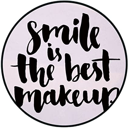 Printing Round Rug,Quote,Smile is the Best Makeup Inspirational Phrase Hand  Written Daily Motivations Mat Non,Slip Soft Entrance Mat Door Floor Rug