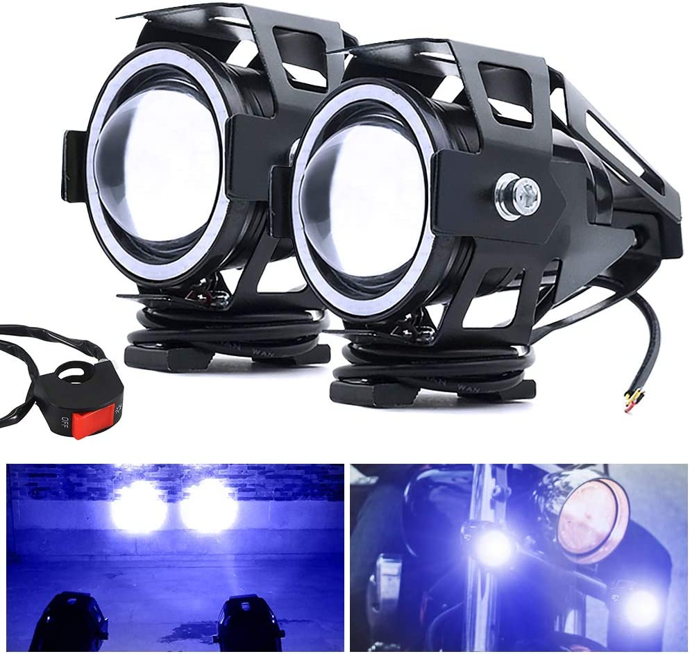 2Pcs Motorcycle Fog Light HIGH//LOW BEAM,Universal U7 Motorcycle Headlights with Switch Motorcycle Auxiliary Light 12V//24V LED Daytime Running Lights for Motorcycle Quad Scooter Trucks White