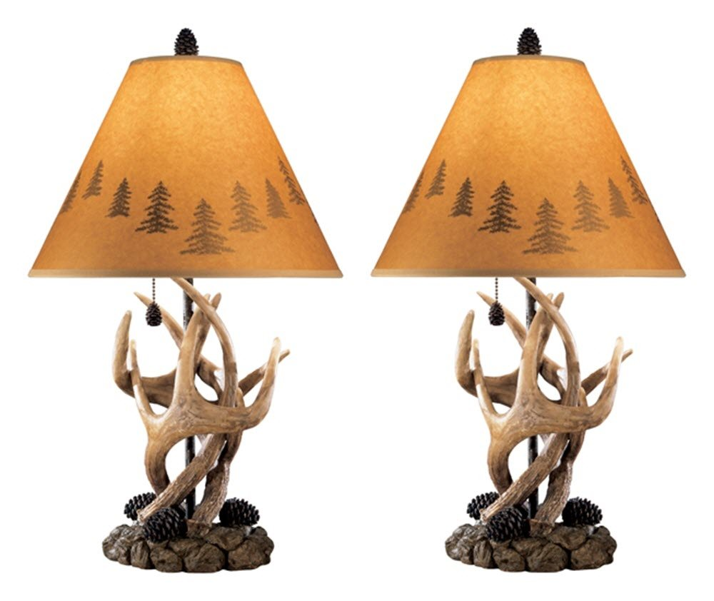 Ashley Furniture Signature Design - Derek Antler Table Lamps - Mountain Style Shades - Set of 2 - Natural Finish