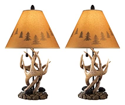 Ashley Furniture Signature Design   Derek Antler Table Lamps   Mountain  Style Shades   Set Of