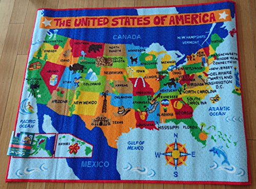 Teach Me US Map Learning Carpets Educational Play Mat Classroom Decorations Area Rugs, 40