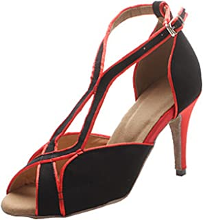 MINITOO Femme Th068Stiletto T-Strap Daim Cuir Mariage Piste de Danse Latine Taogo Dance Sandales