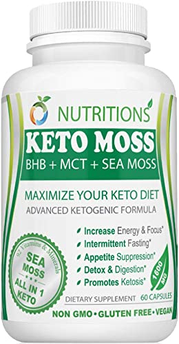 O Nutritions Keto Moss All in One Keto Pills with BHB Salt, MCT Oil and Sea Moss – Advanced Ketogenic Formula for Weight Loss Exogenous Ketones with Immune Booster for Adults
