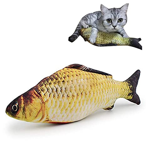 TickTocking - Juguetes de 30 cm para Gatos y Gatos con Forma de pez para Mascotas
