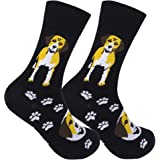 FUNATIC Funny Dog Themed Novelty Crew Socks All Canine Breeds | Best Quality Unisex for Men Women | One Size Fits Most
