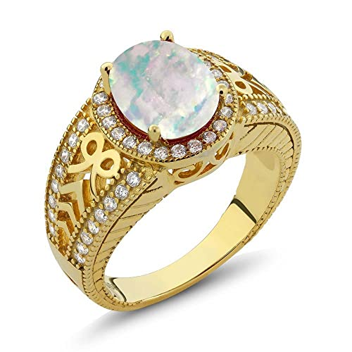 Gem Stone King 2.77 Ct Oval Cabochon White Simulated Opal 925 Yellow Gold Plated Silver Ring