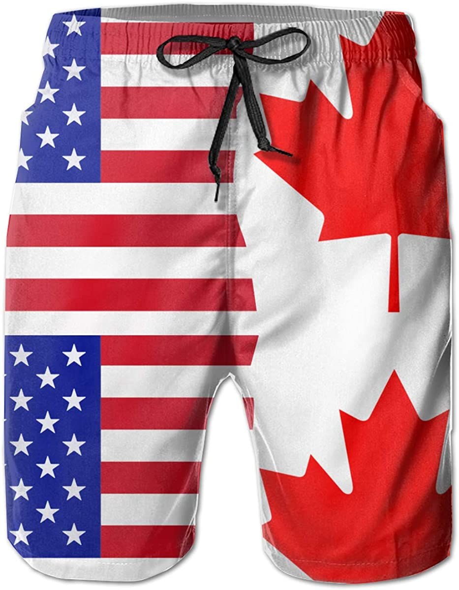 STDKNSK9 Mens Half USA Half Canada Flag Board Shorts Beach Pants