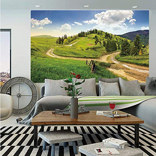 (Landscape Removable Wall Mural,Hillside Meadow Cloudy Sky Fence Near The Cross Road with Fir Trees on Both Sides,Self-Adhesive Large Wallpaper for Home Decor 66x96 inches,Green)