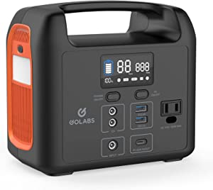 GOLABS Portable Power Station, 204Wh LiFePO4 Battery with PD 60W USB C and QC 3.0, 110V/160W Solar Generator Backup Power Supply for Outdoors Camping Fishing Emergency Home (Orange)