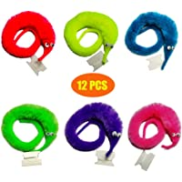 SHENGSEN 12 PCS Magic Twisty Worms On A String Wiggle Fuzzy Worm Toy Party Favors (6 Colors)