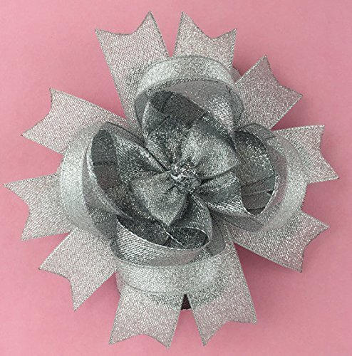 Silver Sparkly Hair Bow, Handmade Boutique Glittery Layered Bow, Silver Stacked Hair Bow Clip