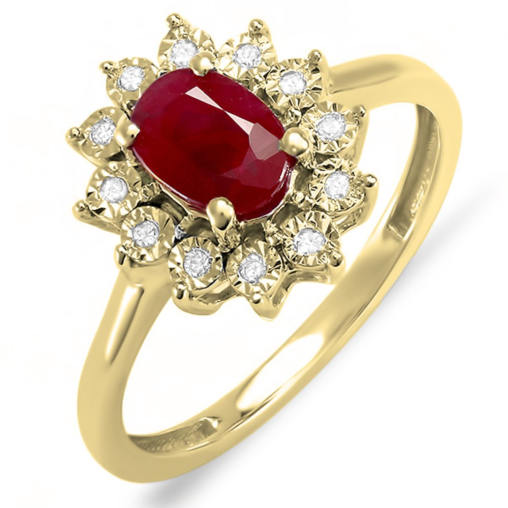 Kate Middleton Diana Inspired 14K Yellow Gold Round Diamond & Oval Red Ruby Engagement Ring (Size 6.5)
