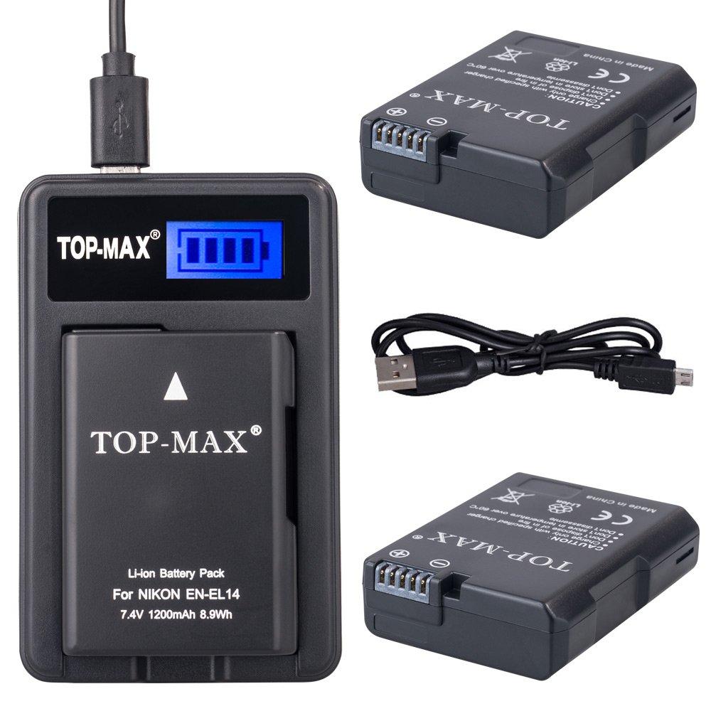 TOP-MAX® 2x EN-EL14 Batería + Cargador USB Para Nikon D3100 D3200 D3300 D3400 D5100 D5200 D5300 D5500,CoolPix P7000 P7100 P7700 P7800