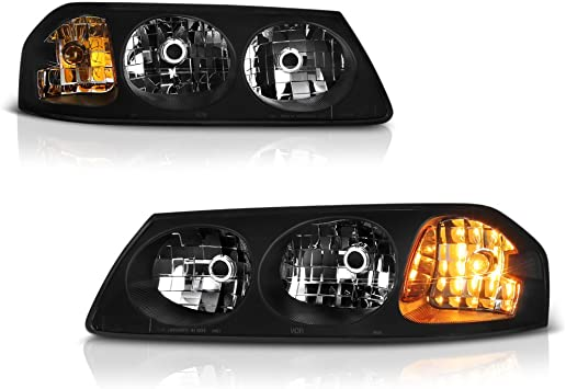 Headlight Assembly for 2000-2005 Chevy Impala Black Housing Amber Reflector Passenger and Driver Side