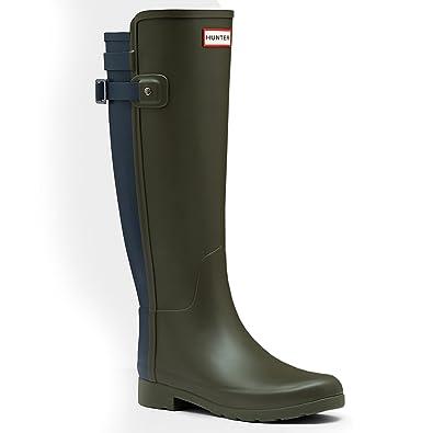 Hunter Women's Original Refined Back Strap Rain Boots Dark Olive/Navy 5