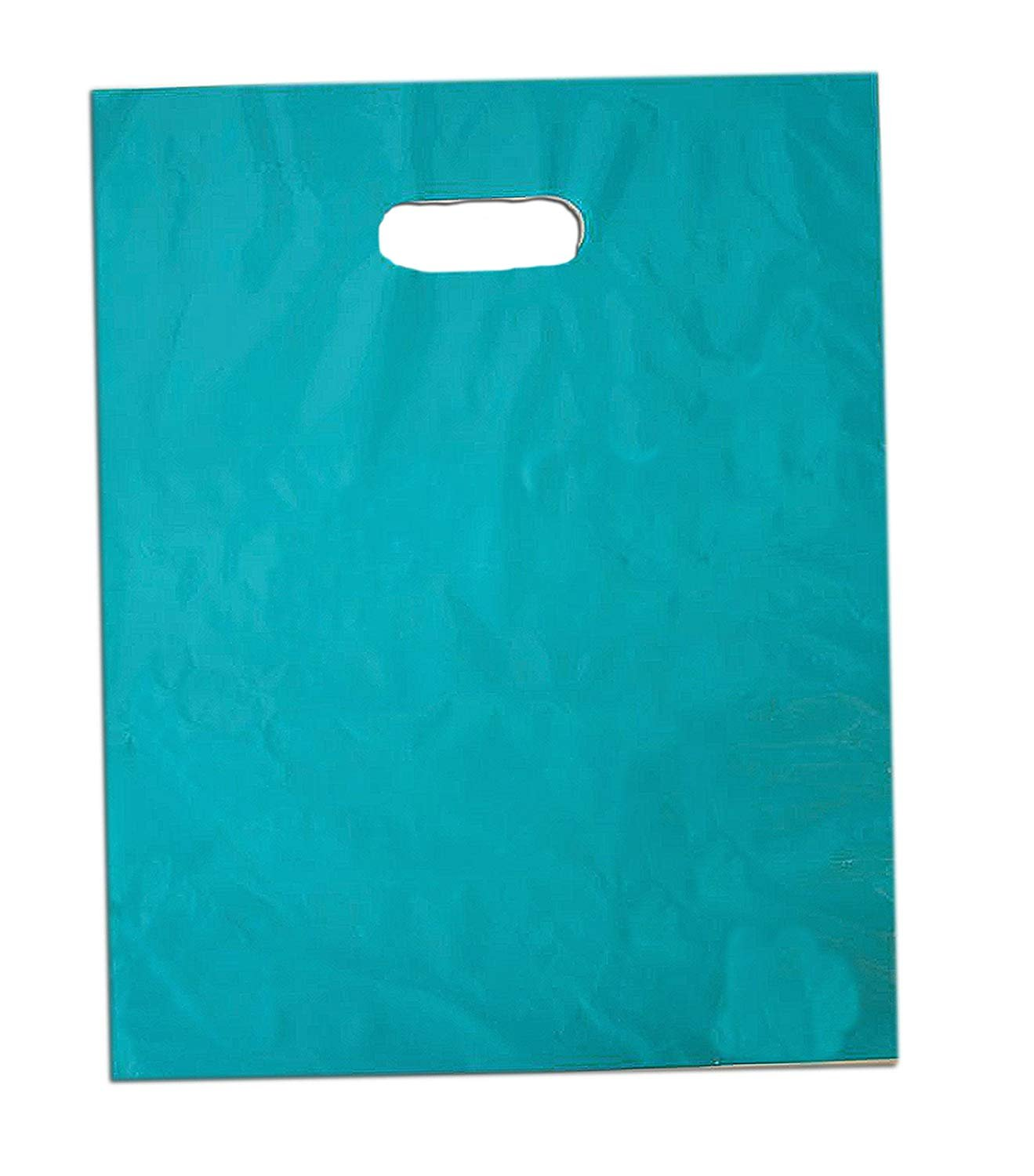 100 12x15 Glossy Teal Blue Plastic Merchandise Bags with Handles