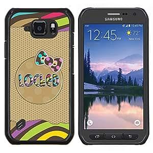 EJOOY---Cubierta de la caja de protección para la piel dura ** Samsung Galaxy S6Active Active G890A ** --Modelo del oro Bow texto Rayas Polka