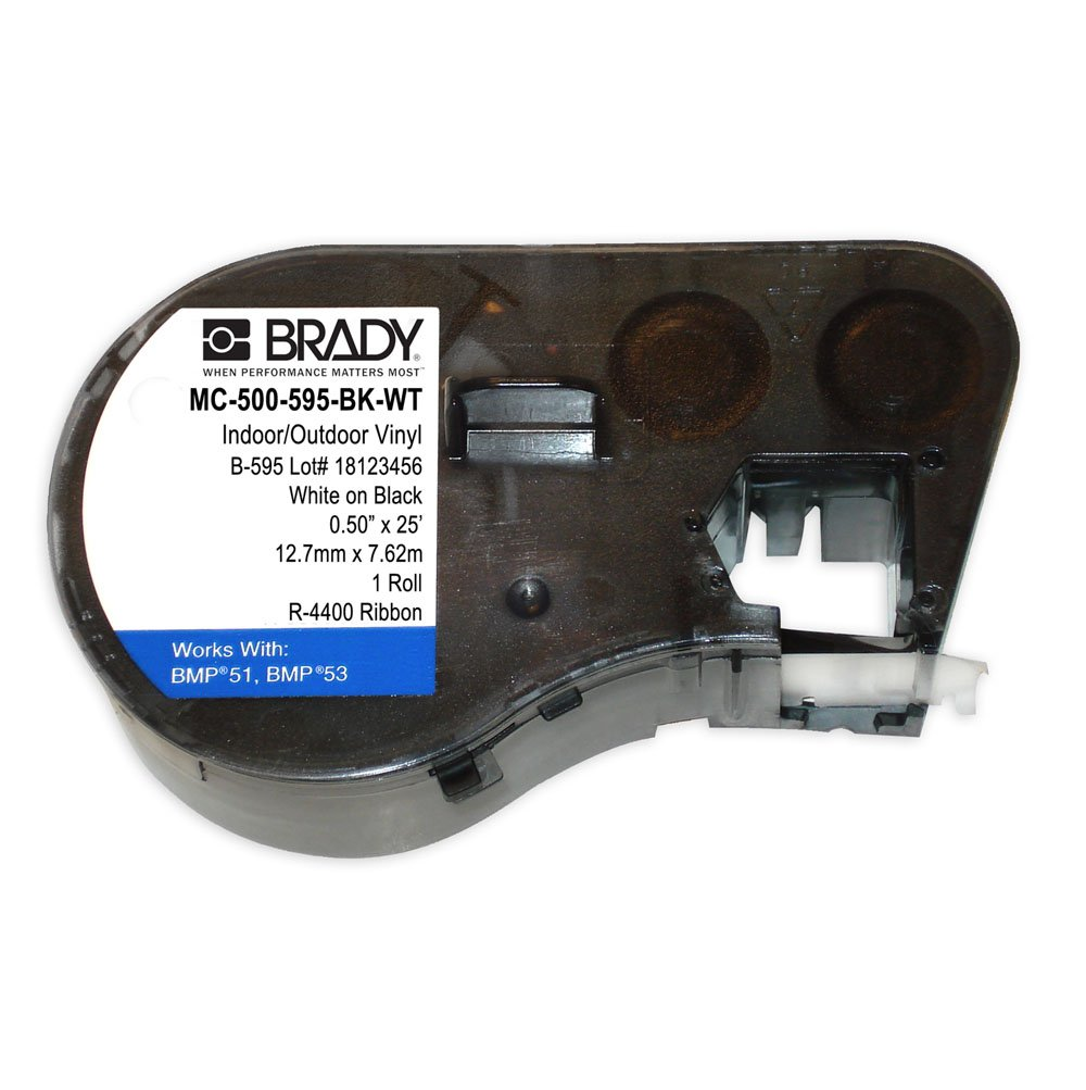Brady MC-500-595-BK-WT Vinyl B-595 White on Black Label Maker Cartridge, 25' Width x 1/2'' Height, For BMP51/BMP53 Printers
