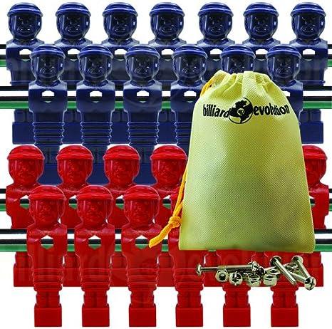 26 rojo y azul torneo estilo futbolín Hombres con libre tornillos y tuercas en evolución de billar bolsa de cordón: Amazon.es: Deportes y aire libre