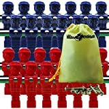 26 Red and Blue Tournament Style Foosball Men with Free Screws & Nuts in Billiard Evolution Drawstring Bag