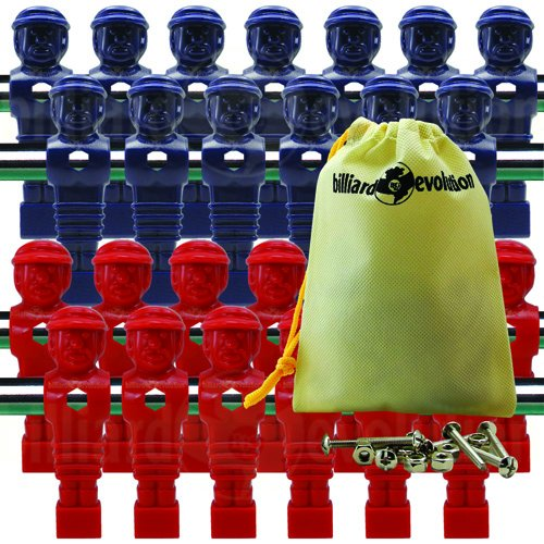 Billiard Evolution 26 Red and Blue Tournament Style Foosball Men with Free Screws & Nuts in Drawstring Bag
