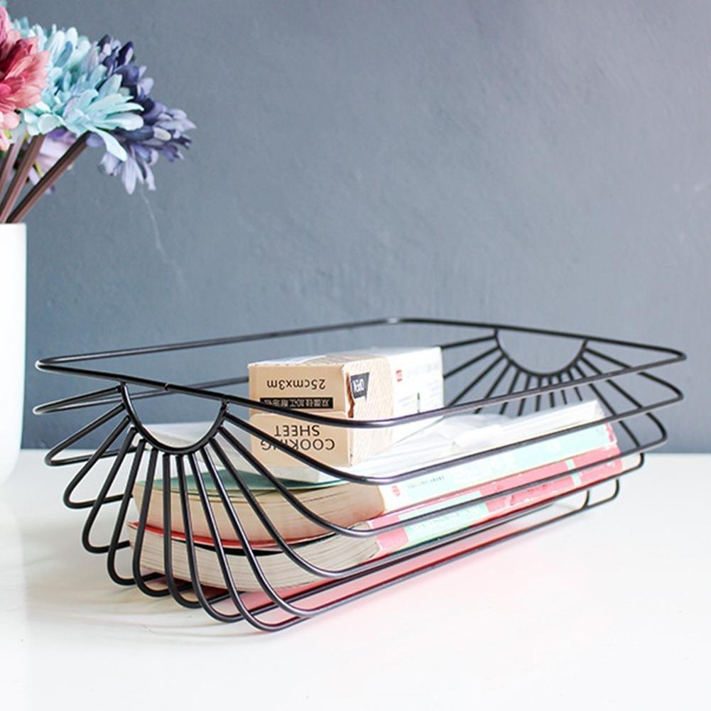 Black and Rose Gold LianLe Large Iron/Wire Storage Basket,Nordic Style Iron Magazine Book Newspaper Shelf Rack