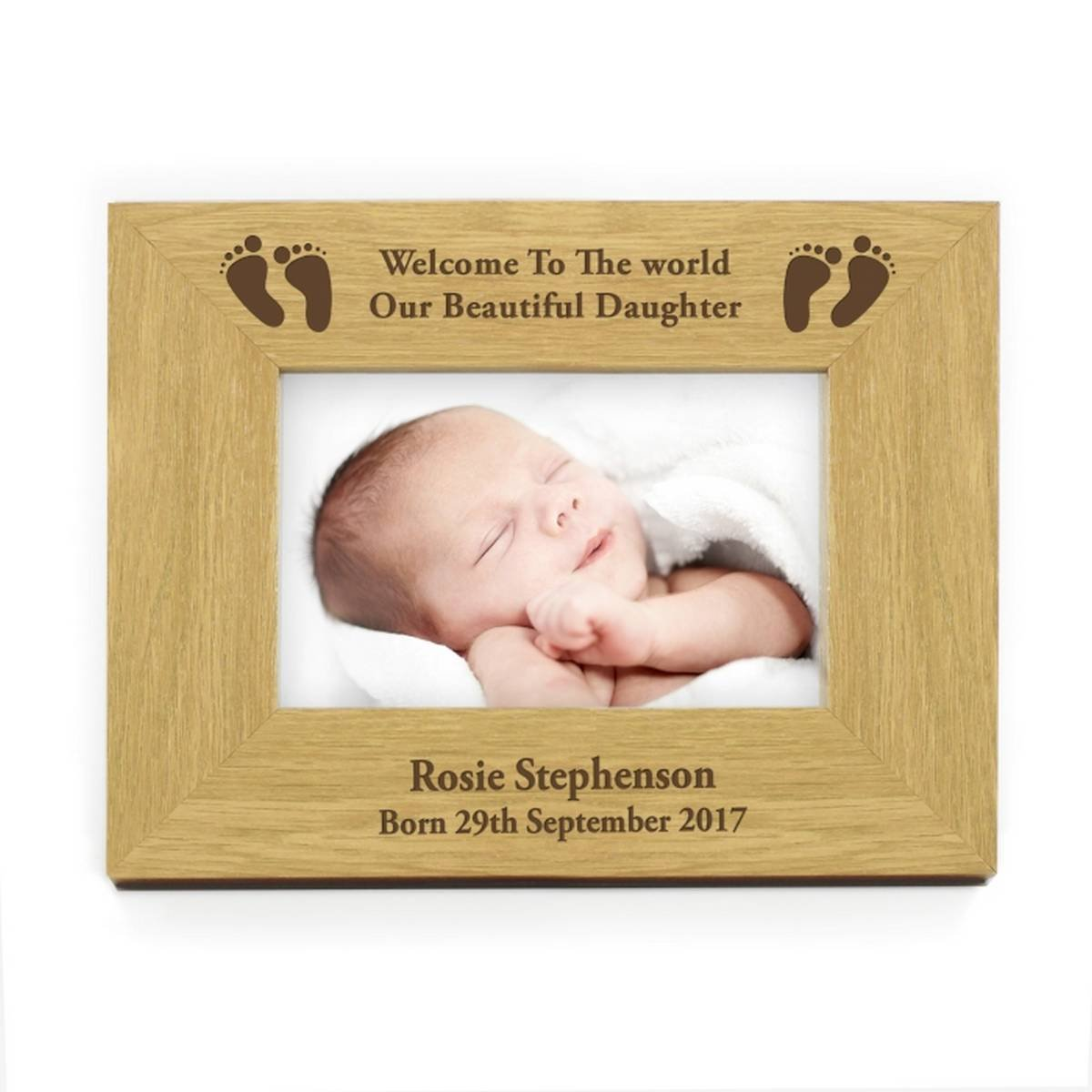 Landscape Baby Foot 6x4 Wooden Frame. This is a great product that can be personalised to your requirements ( please see main discription for full details ) Ideal gifts and presents for weddings, Christenings, Birthdays, Christmas etc… Christmas etc... Ch