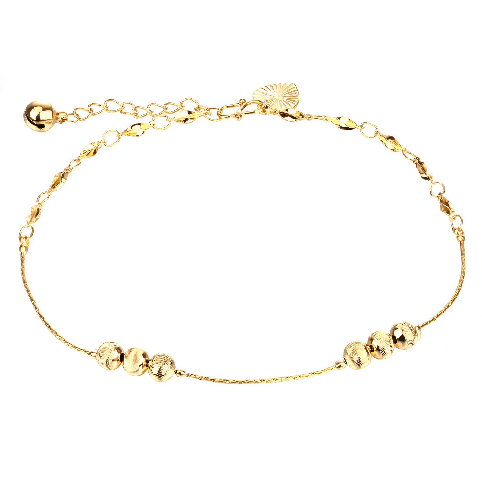 URs 18k Gold Plated Anklets with Lantern Beads and Bell Heart Pendant for Women