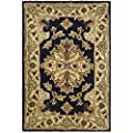 Safavieh Heritage Collection HG817A Handmade Traditional Oriental Black and Ivory Wool Area Rug (2' x 3')