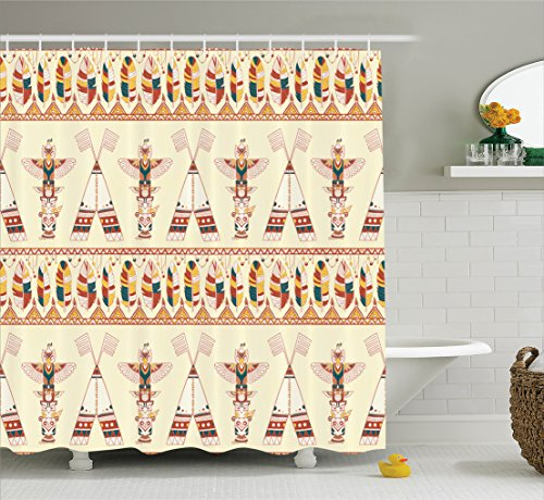 Ambesonne Native American Decor Shower Curtain Set, Colorful Native American Ethnic Indigenous Motifs with Feather and Totem Poles Print, Bathroom Accessories, 75 inches Long, Multi