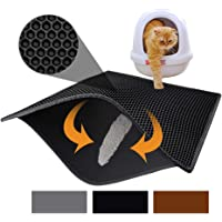 """Pieviev Cat Litter Mat Litter Trapping Mat, 30"""" X 24"""" Inch Honeycomb Double Layer Design Waterproof Urine Proof Trapper Mat for Litter Boxes, Large Size Scatter Control (Black)"""