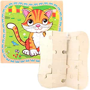 Educational Small Wooden Puzzle(Cat) Size 14.7 x14.7cm