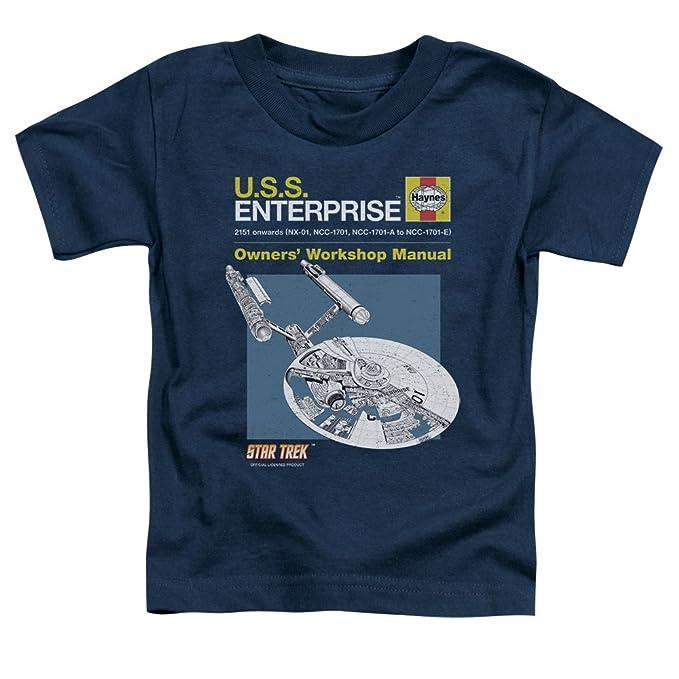 Official Haynes Manual Star Trek USS Enterprise Captain Kirk Mens Blue TShirt