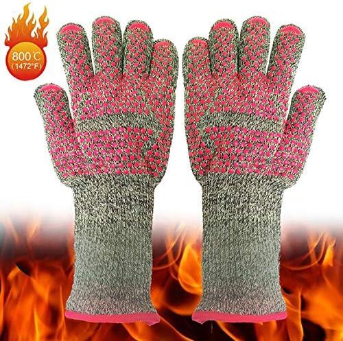 HAPzfsp 手袋 バーベキューエクストリーム耐熱手袋ホーム/キッチン/アウトドアハンドプロテクション5本指グリル電子レンジオーブンミット(調理、焼き、焼き、バーベキュー)(1ペア) グローブ保護手袋、仕事、農場