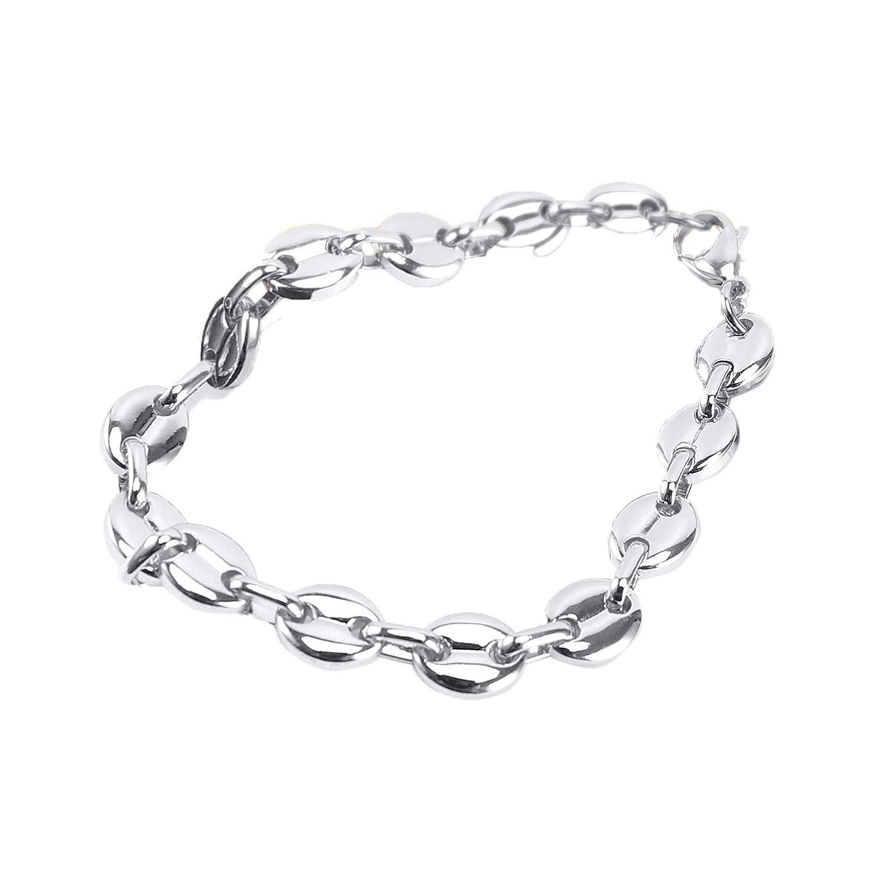 Bracelet Gourmette avec Chaine de Maille Grain Cafe Acier Inoxydable 316L 11MM AURSTORE/® Bijoux