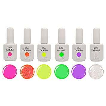 Amazon bmc 6pc color gel nail art polish uv led light bmc 6pc color gel nail art polish uv led light manicure collection set neons prinsesfo Gallery