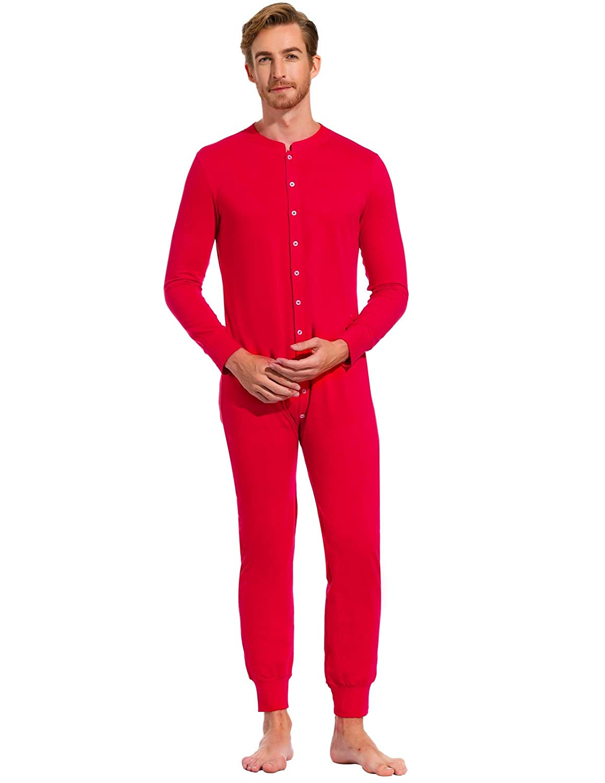 Zexxxy Men One Piece Pajama Button Down Long Sleeve Union Suit Sleepwear ZE329