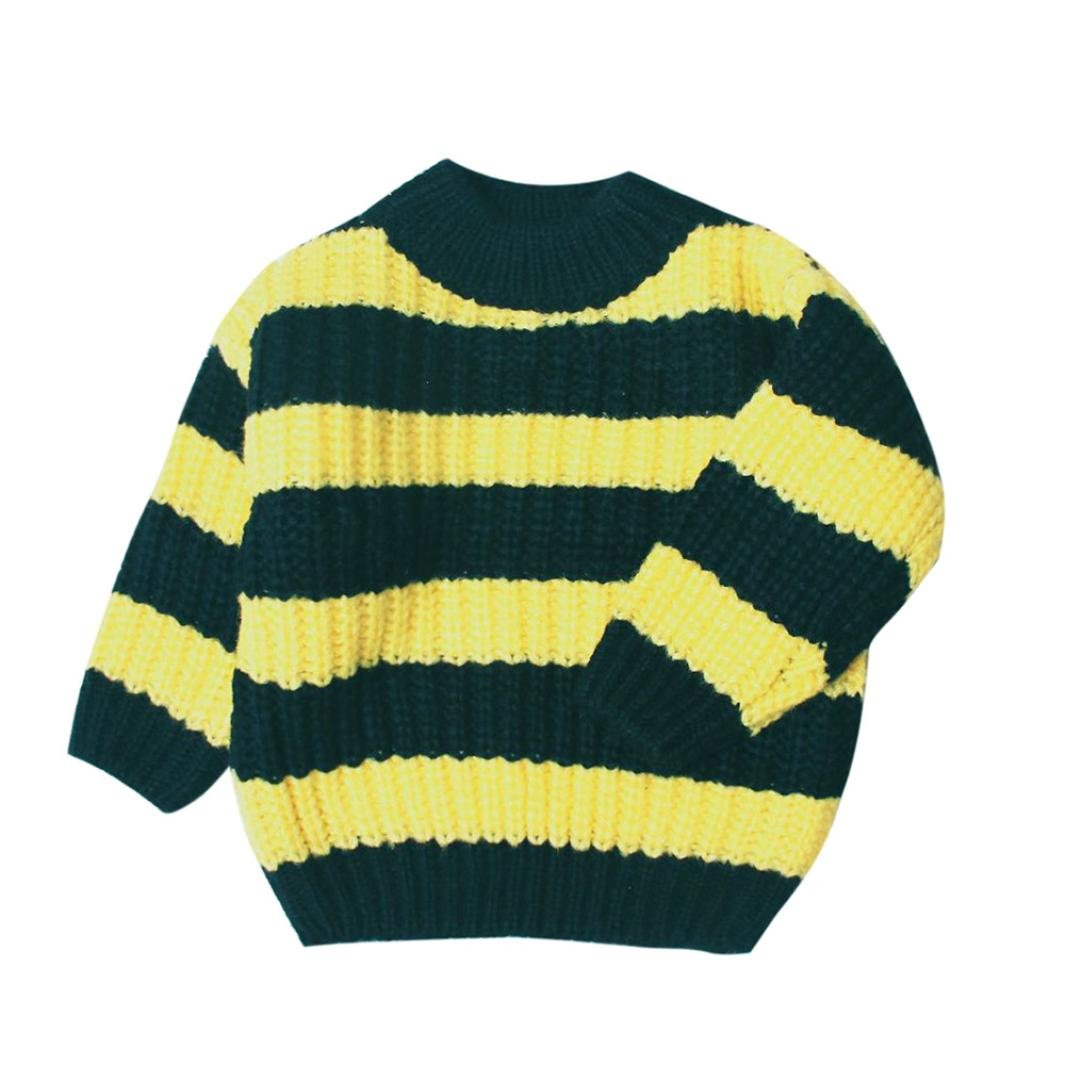 WARMSHOP Kids Crochet Blouse Yellow Black Striped Long Sleeve Pullovers Knitted Sweater