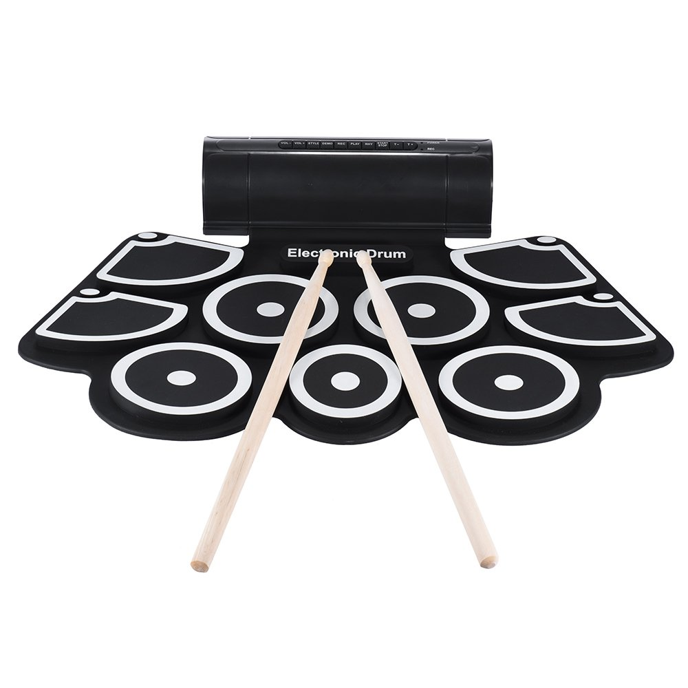 ammoon Electronic Roll Up Drum Pad Set 9 Silicon Pads Built-in Speakers with Drumsticks Foot Pedals USB 3.5mm Audio Cable