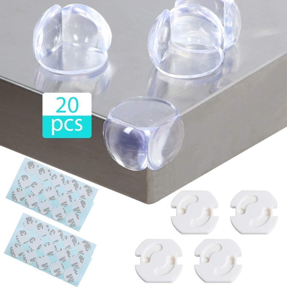 KingYH 24 Pi/èces Coin de Table Protection Transparent PVC B/éb/é de S/écurit/é Anti-Chocs Protecteur de Coins avec Plastique Cache Prise et R/ésistant Adh/ésifs pour Tables Tout Meubles Pointus Protection
