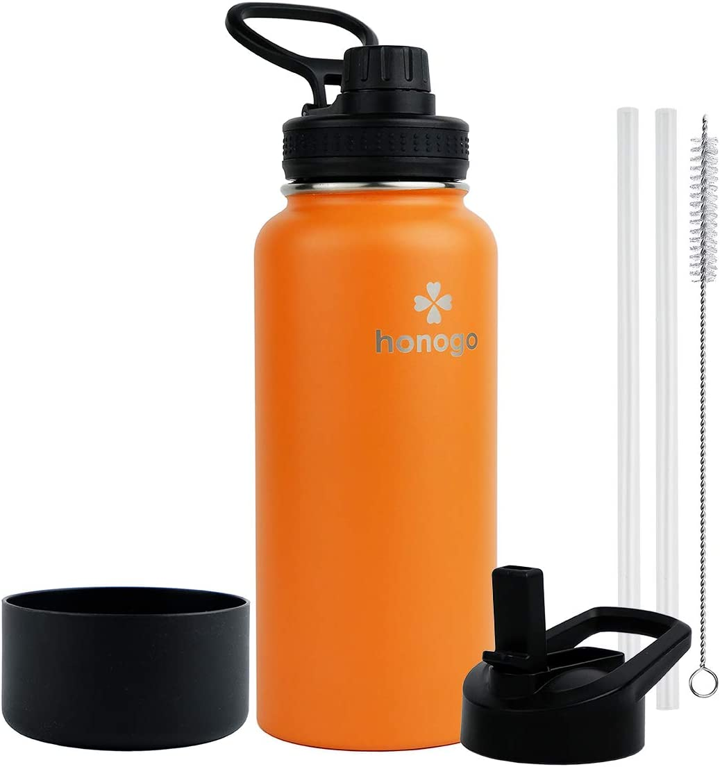honogo 32 oz Powder Coated Double Wall Vacuum Insulated Sports Water Bottle, 18/8 Stainless Steel Wide Mouth Thermos Flask with Straw Lid & Spout Lid, Leak Proof, Sweat Free, BPA Free