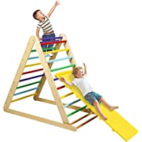 HONEY JOY Triangle Climber with Ramp, 2-in-1 Indoor Toddler Climbing Triangle Set with Ladder & Slide, Foldable Wooden…
