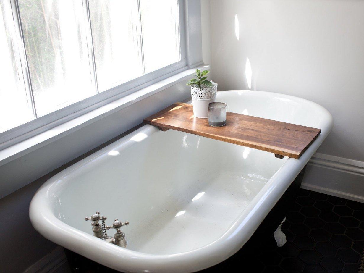 Amazon.com: Modern Bathtub Tray Caddy - Wooden Bath Tub Caddy Smooth ...