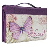 "Purple Botanic Butterfly Blessings ""Blessed"" Bible / Book Cover - Jeremiah 17:7 (Medium)"