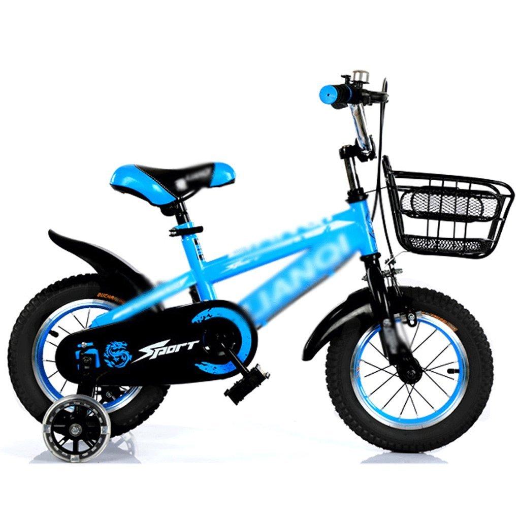 Duwen子供の自転車子供の自転車2 – 7年古い12 /14 /16 /18インチブルー+ Top withフラッシュホイール鉄ボックスギフト B07F6D1DJP   16 inch