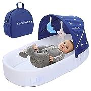 Newborn Baby Travel Portable Sleep Baby Recliner Sleeping Bag Crib (Blue, Upgraded Version)