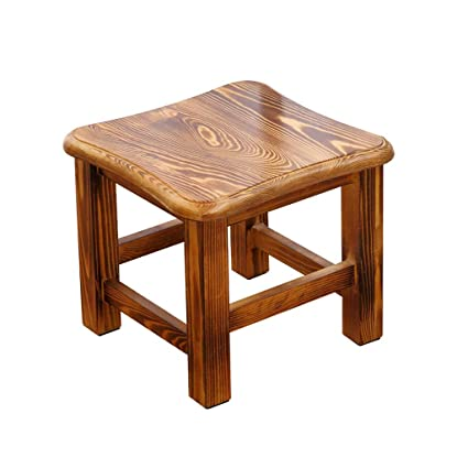 Amazon.com: Solid Wood Small Square Stool Bedroom Kitchen ...
