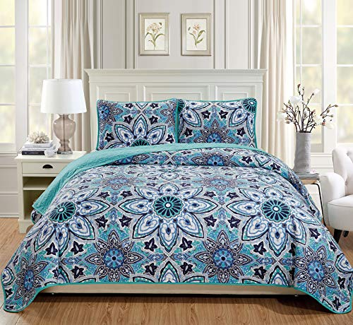Fancy Linen 3pc Full/Queen Bedspread Quilt Set Over Size Bed Cover with Flowers Turquoise Navy Blue Grey White New