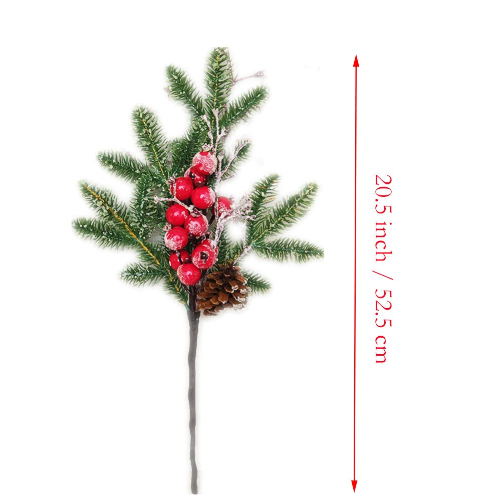 Red Berries,Pinecone for Christmas Home Garden Decor Warmter Artificial Pine Branches Needle Green Leaves Cedar Trees with Silver Bristles