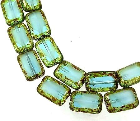 Picasso 12 White 12x8mm Czech Glass Rectangle Beads Capri Blue